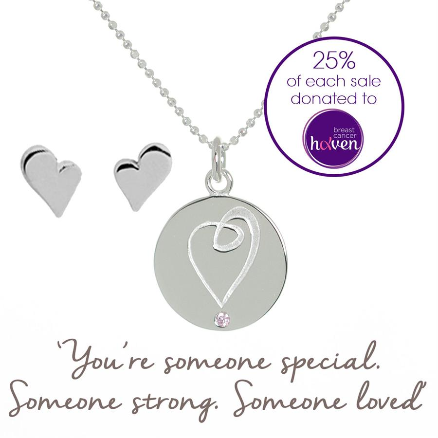 Buy Heart Charity Necklace & Earring Set, Breast Cancer Haven | Sterling Silver, Gold & Rose Gold