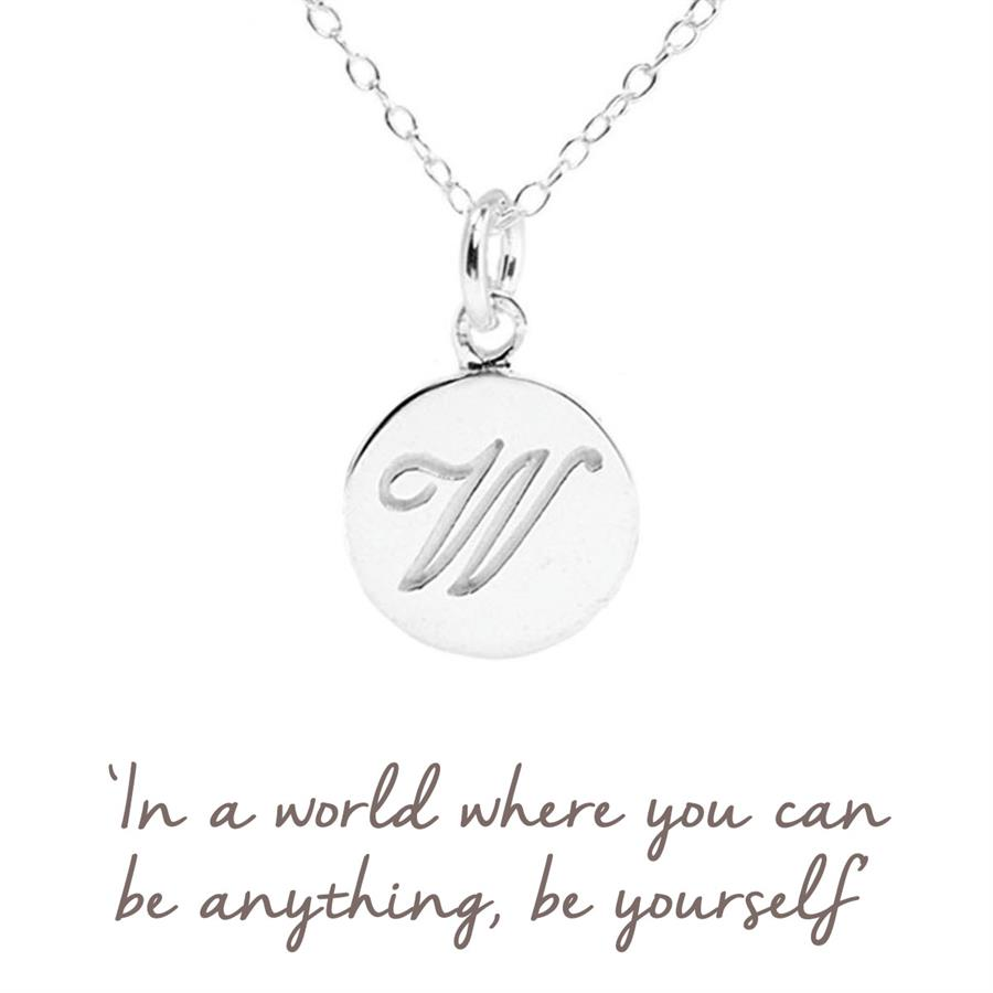 Sterling Silver W Initial Necklace