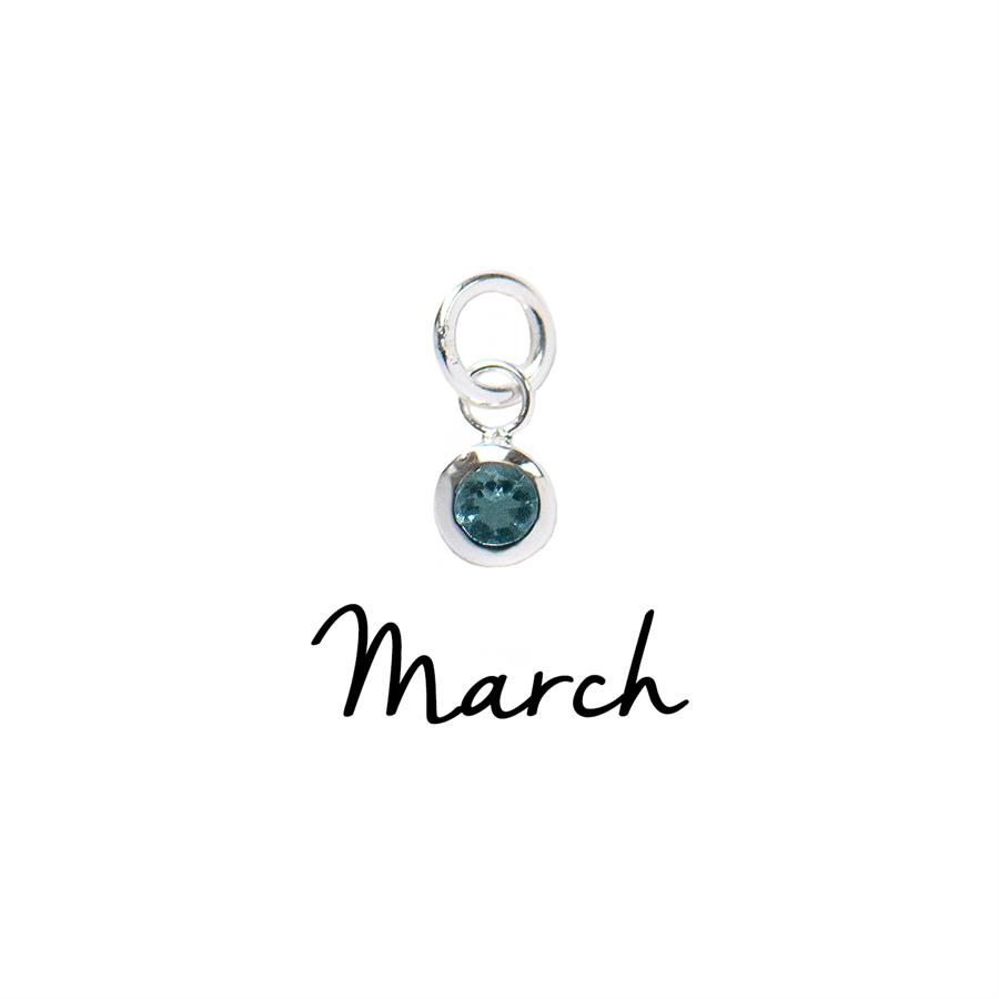 Sterling Silver March CZ Birthstone Pendant