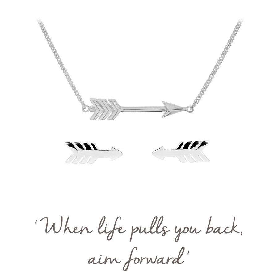 Sterling Silver Arrow Necklace & Earrings