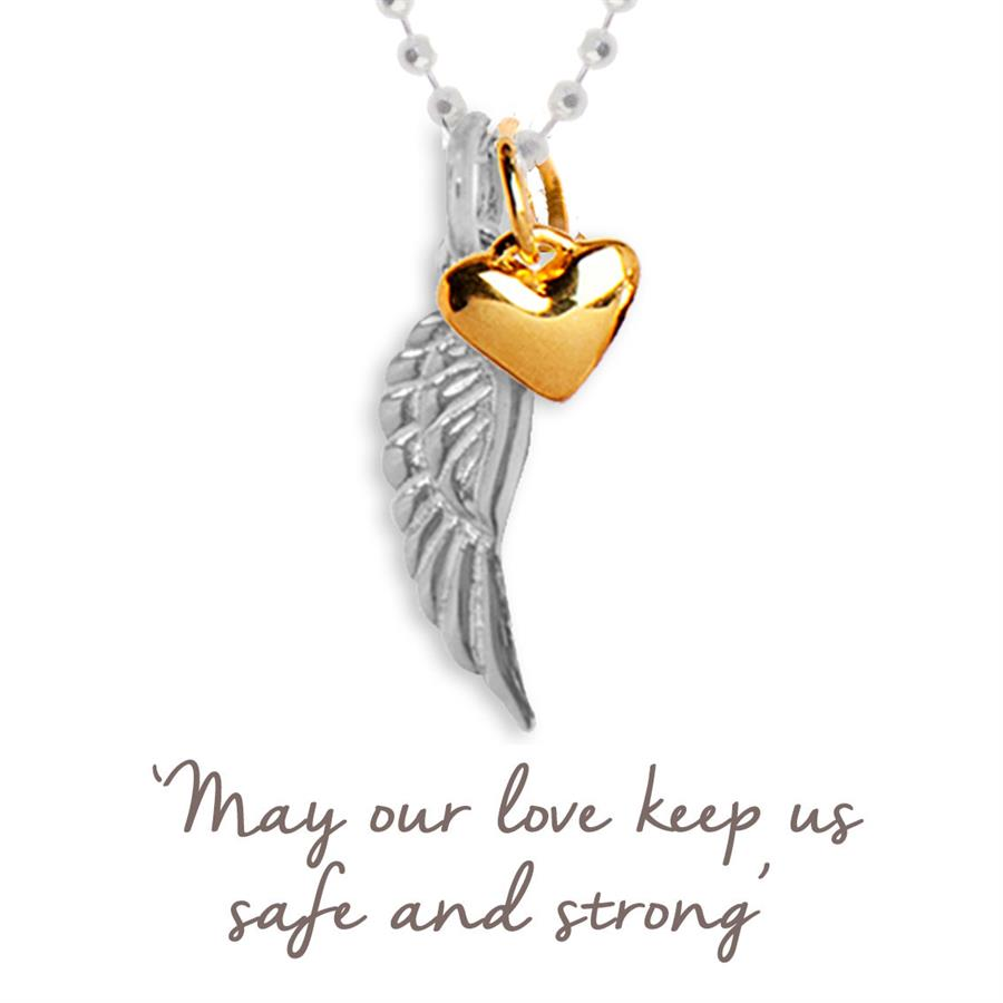 Angel Wing and Heart Necklace