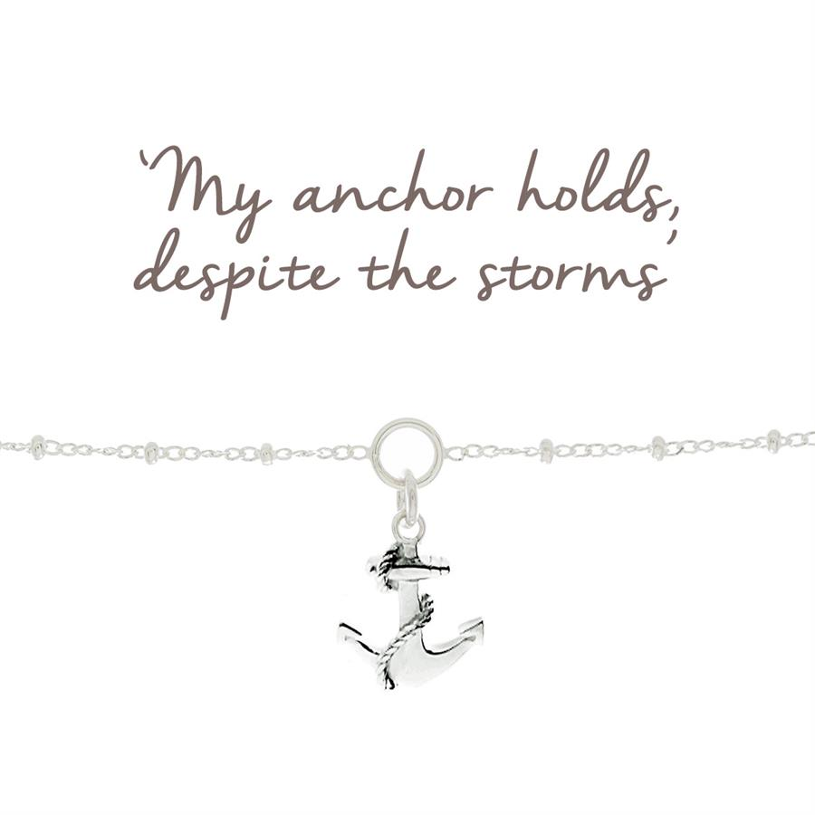 Sterling Silver Anchor Charm Bracelet for Protection