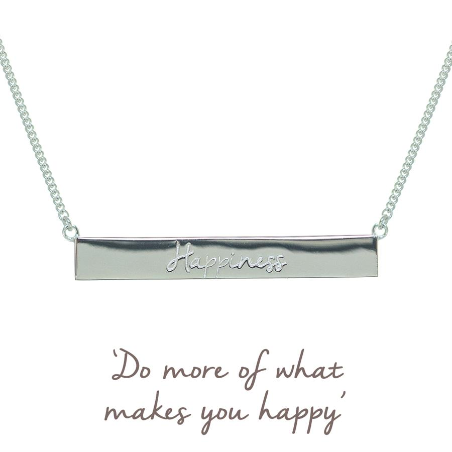 Buy Happiness Bar Necklace | Sterling Silver
