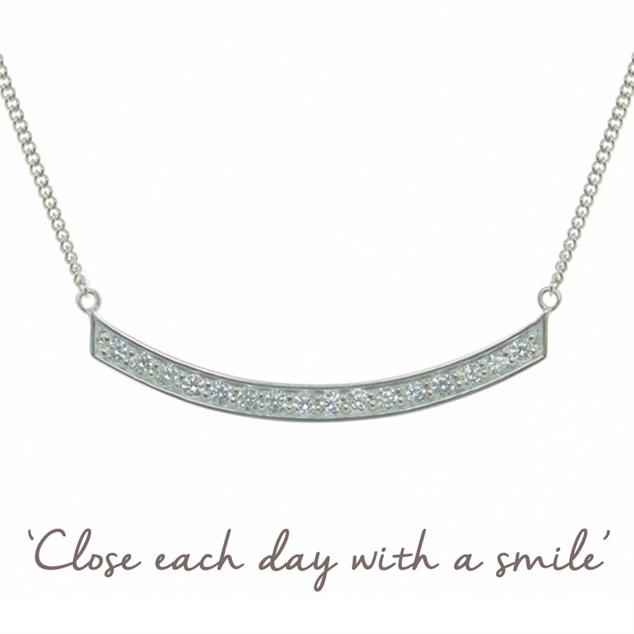 Sterling Silver Smile Cubic Zirconia Necklace
