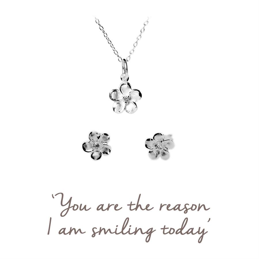 Sterling Silver Flower Jewellery Gift Set