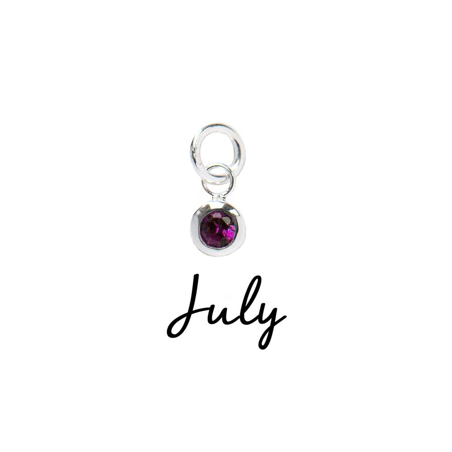 Sterling Silver July CZ Birthstone Pendant