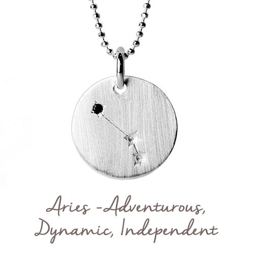 Sterling Silver Aries Star Map Necklace