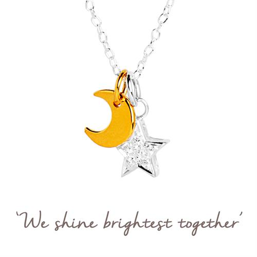 Buy Moon and Star Necklace | Sterling Silver, Gold & Cubic Zirconia