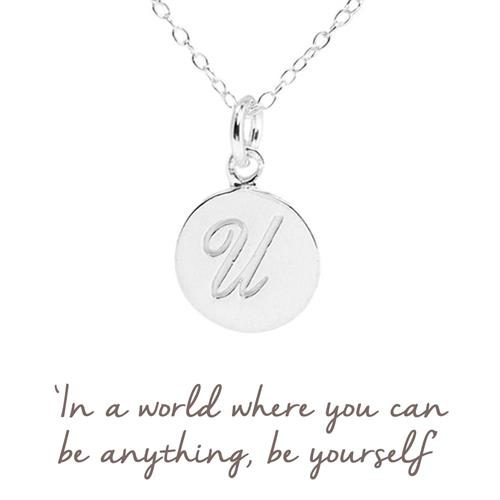 Sterling Silver U Initial Necklace