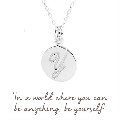 Sterling Silver Y Initial Necklace