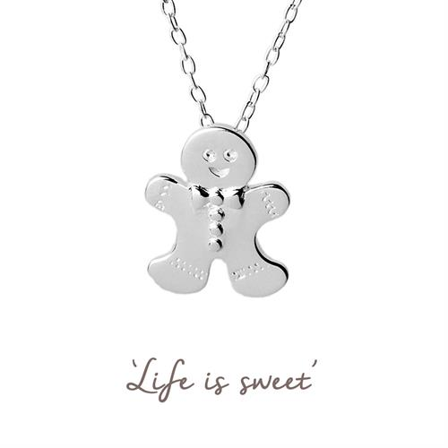 Cute Sterling Silver Gingerbread Man Necklace