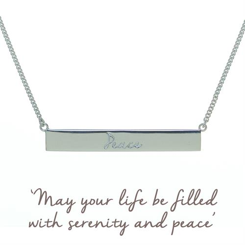 Buy Peace Bar Necklace | Sterling Silver, Gold & Rose Gold