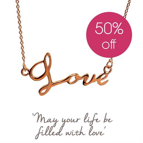 Gold Love Script Necklace