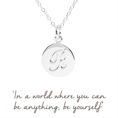 Sterling Silver R Initial Necklace