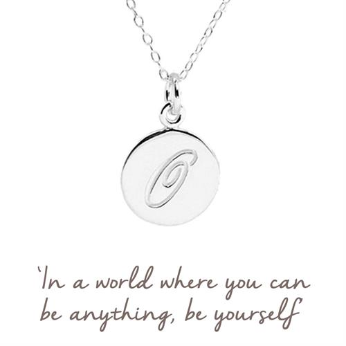 Sterling Silver O Initial Necklace