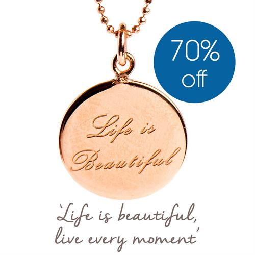 Buy Life is Beautiful Necklace | Sterling Silver, Gold & Rose Gold
