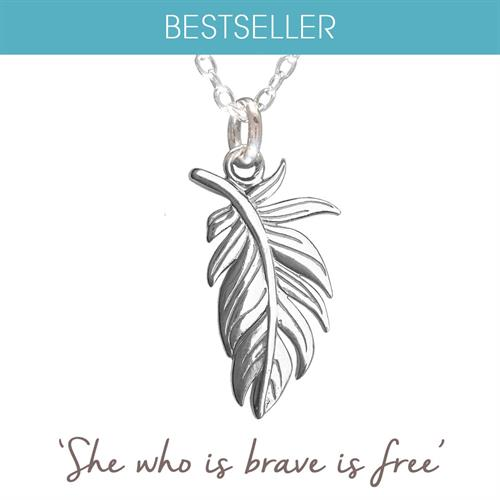 Buy Plume Feather Necklace in Sterling Silver & Gold