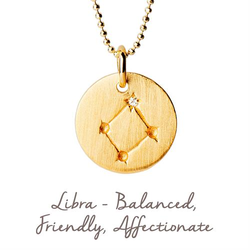 Sterling Silver Libra Star Map Necklace