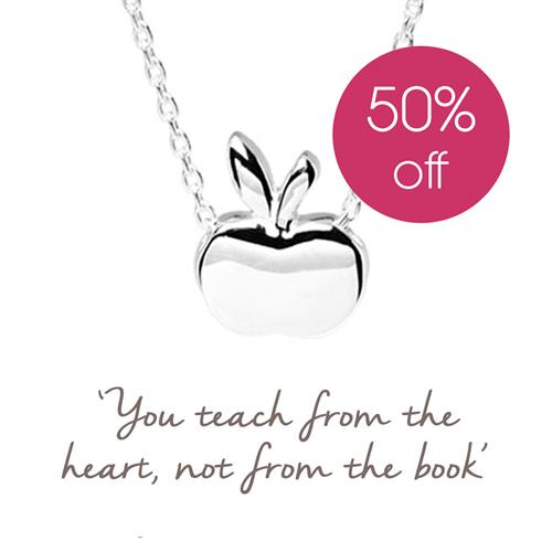 Buy Apple Necklace in Sterling Silver - Teacher's Gift