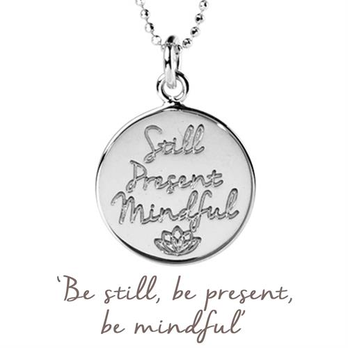 Sterling Silver Still, Present, Mindful Necklace