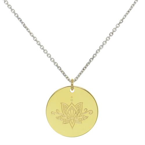 Buy Ornate Lotus MyMantra Personalised Short Necklace | Sterling Silver, Gold & Rose Gold