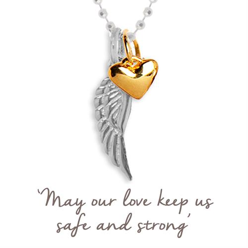 Buy Angel Wing and Heart Necklace | Sterling Silver and Gold