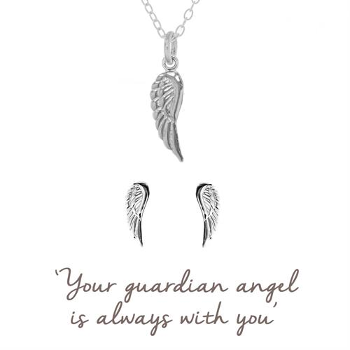 Buy Angel Wing Gift Set | Sterling Silver Pendant and Earrings