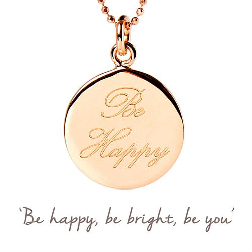 Sterling Silver Be Happy Necklace