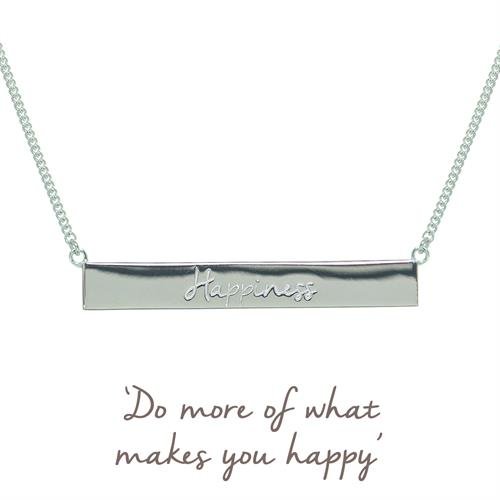 Buy Happiness Bar Necklace | Sterling Silver, Gold & Rose Gold
