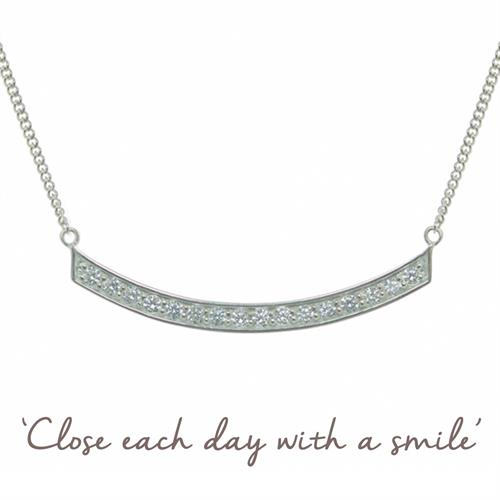 Buy Smile Necklace With Cubic Zirconia in Sterling Silver