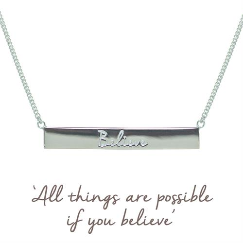 Buy Believe Bar Necklace | Sterling Silver, Gold & Rose Gold