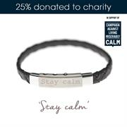 Buy Stay Calm Mens Charity Bracelet, Plaited Leather and Stainless Steel