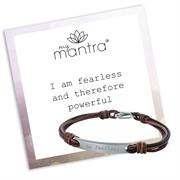 Buy myMantra Personalised Men's Clasp Bracelet, Leather and Stainless Steel
