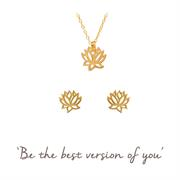 Lotus Necklace & Earrings - Yoga Gift Set