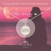 Mel Wells wears her Goddess Necklace