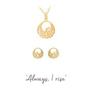 Phoenix Necklace and Earrings Silver