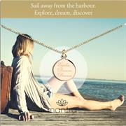 Gold Explore Dream Discover Disc Necklace