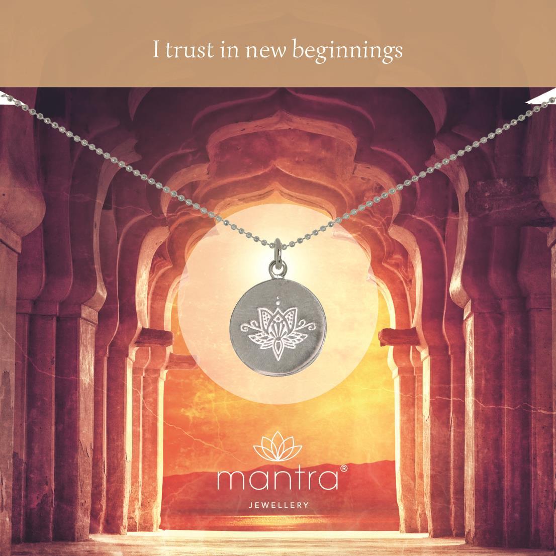 Lotus Flower Necklace New Beginnings Mantra Jewellery