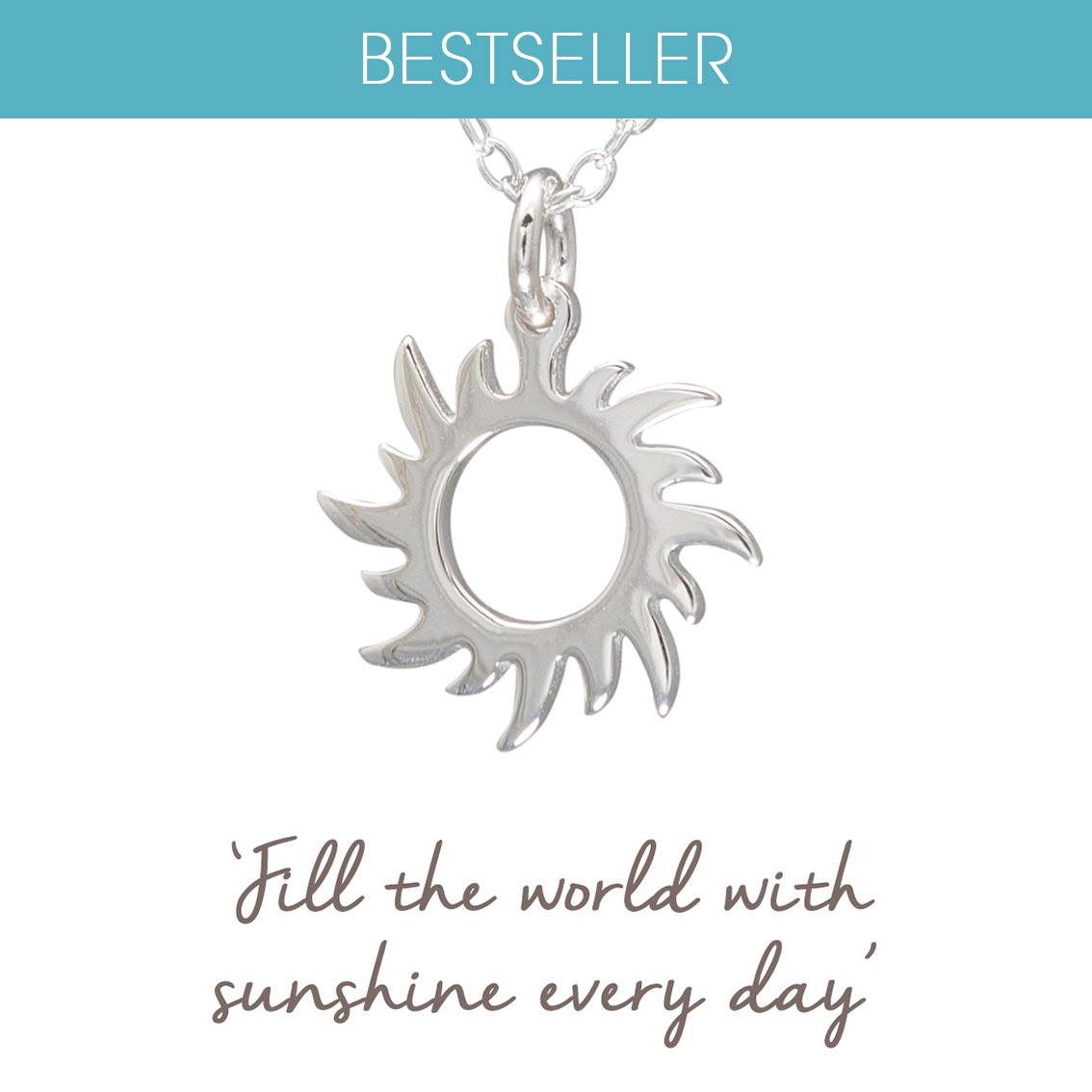 Sterling silver sun necklace gifts for her mantra jewellery sterling silver sun necklace silver mozeypictures Images