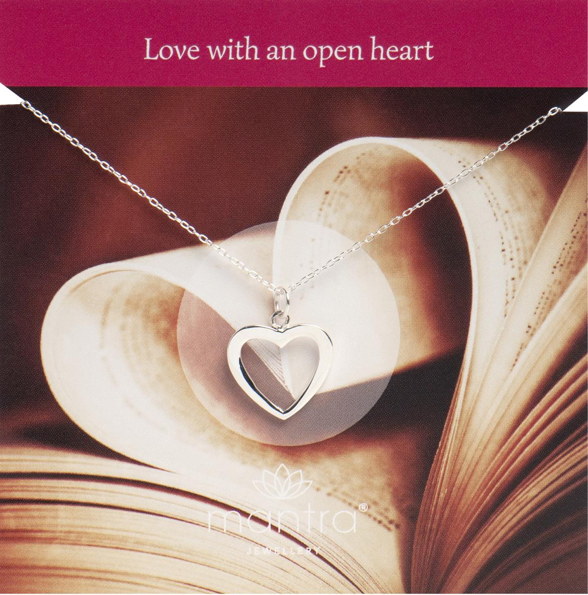Love Silvers: Open Heart Necklace In Sterling Silver